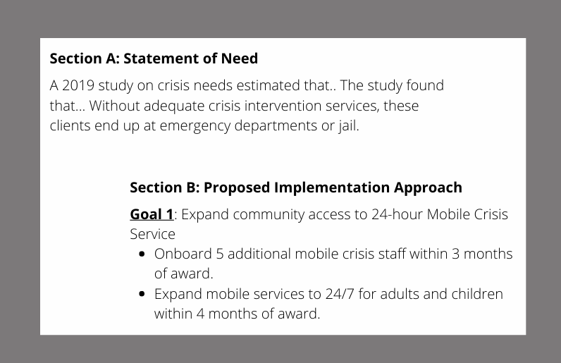 federal grant statement of need and goal alignment example